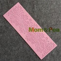 Mom & pea gx196 frete grátis floral rendas molde bolo decoração fondant bolo 3d molde de silicone grau alimentício