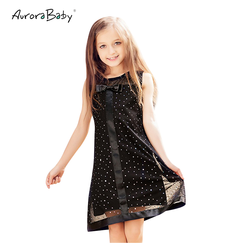 Aurorababy Girls Dresses Black Cute Bowknot Sequined -1351