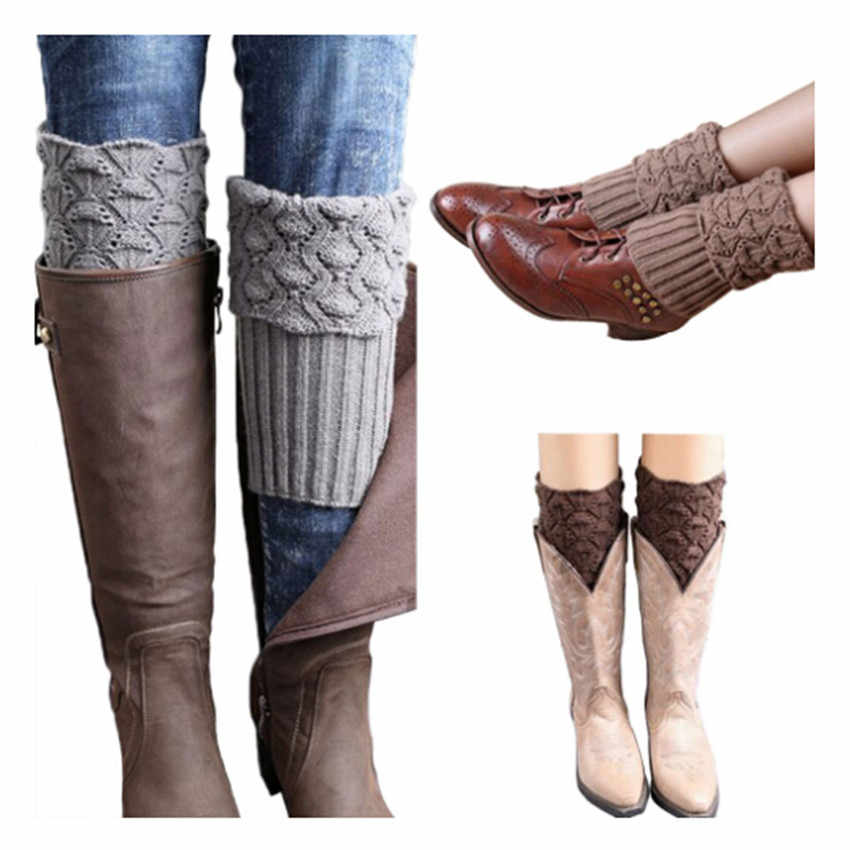 New Women Ladies Crochet Knitted Shell Design Boot Cuffs Toppers Knit Leg Warmers Winter Short Liner Boot Socks IU982940