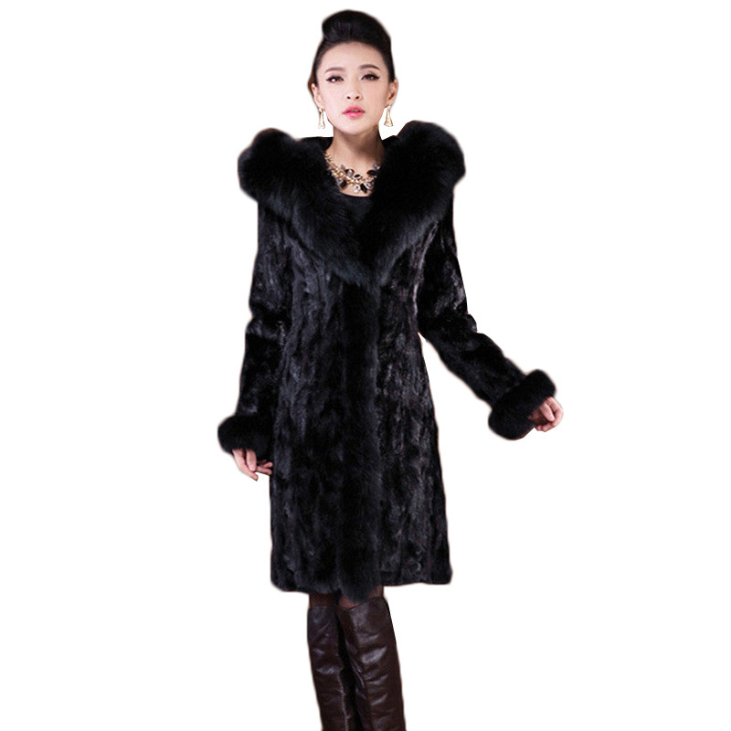Faux Black Imitation Taille Fourrure 2017 Hiver Pardessus Plus Longues Femmes La Yagenz Capuchon Moyen 6xl K580 New Qualité Manteau Haute De À Renard Veste wZggz4qt