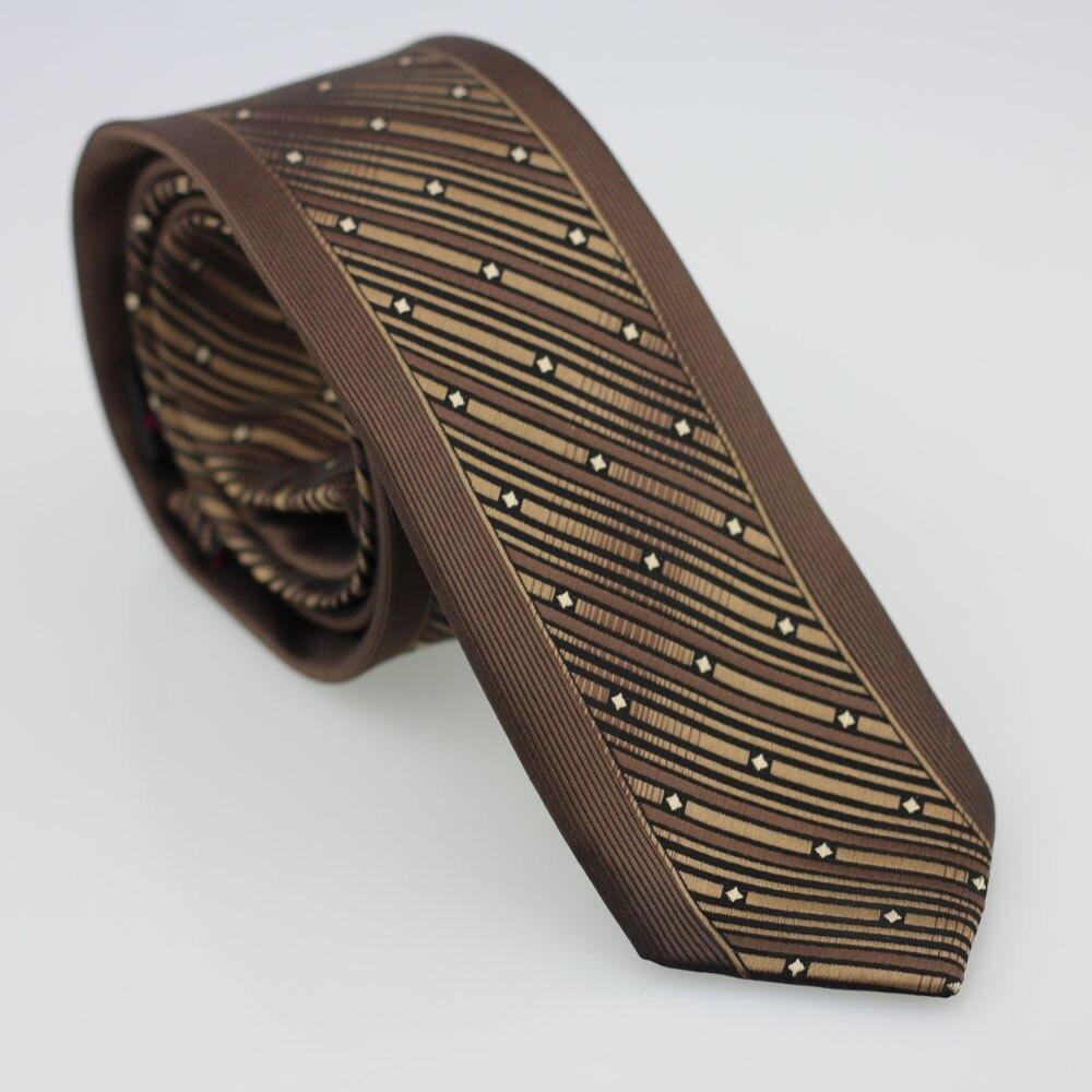 Yibei Coachella галстук коричневый Галстуки для Для мужчин с граничит черный Диагональ Полосатый бежевый плед тощие corbatas 6 см микрофибры галстук