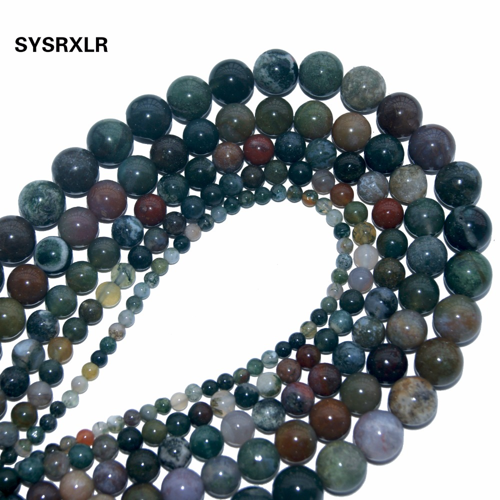 Free Shipping Charm Natural India Agat Stone Round Beads For Jewelry Making DIY Bracelet Necklace 4 6 8 10 12 MM Strand 15
