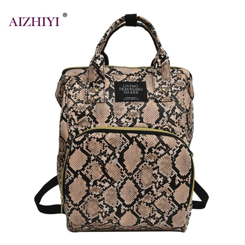 Women Large Capacity Snake Print Mommy Travel Shoulder Backpacks Multi-function Large PU Leather Maternity Nappy Top-handle Bags