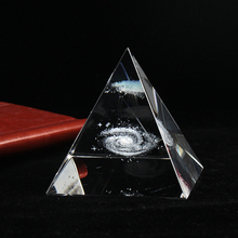 Crystal Pyramid 3D Laser Engraved Galaxy Glass Fengshui Figurine Home Decoration Accessories for living room