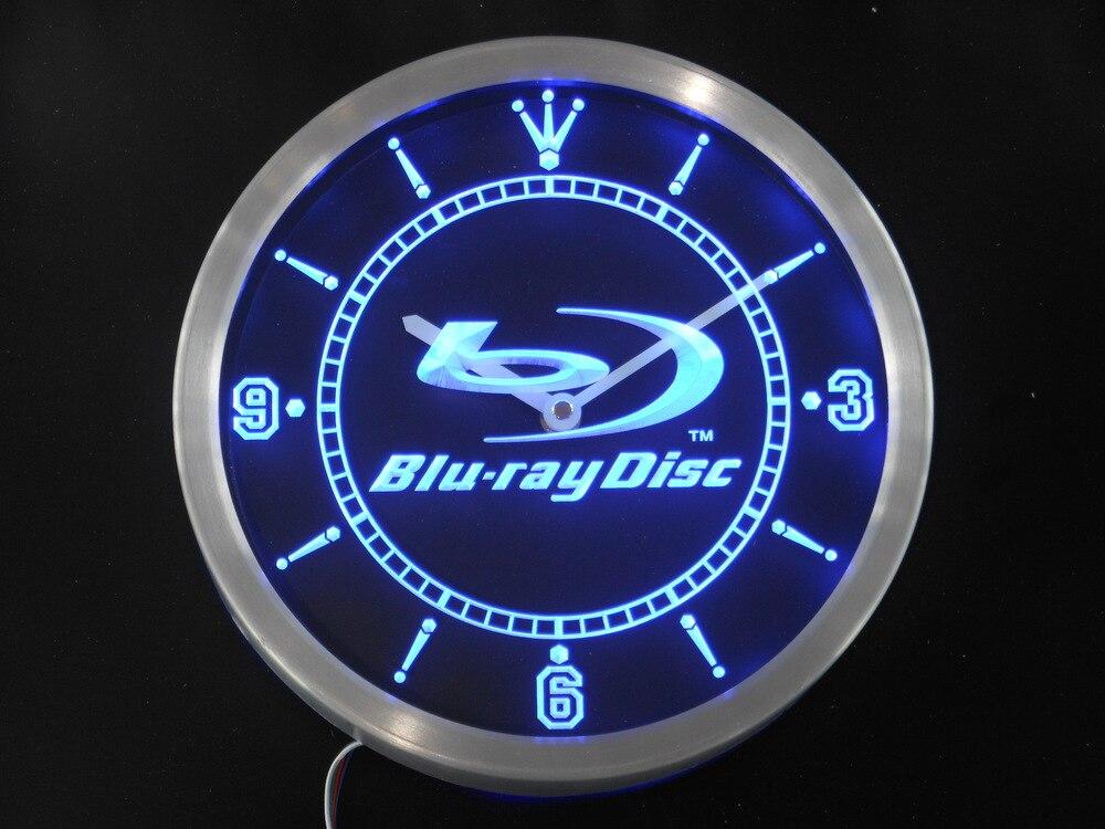 nc0430 <font><b>Blu-ray</b></font> Disc Neon Sign LED Wall Clock