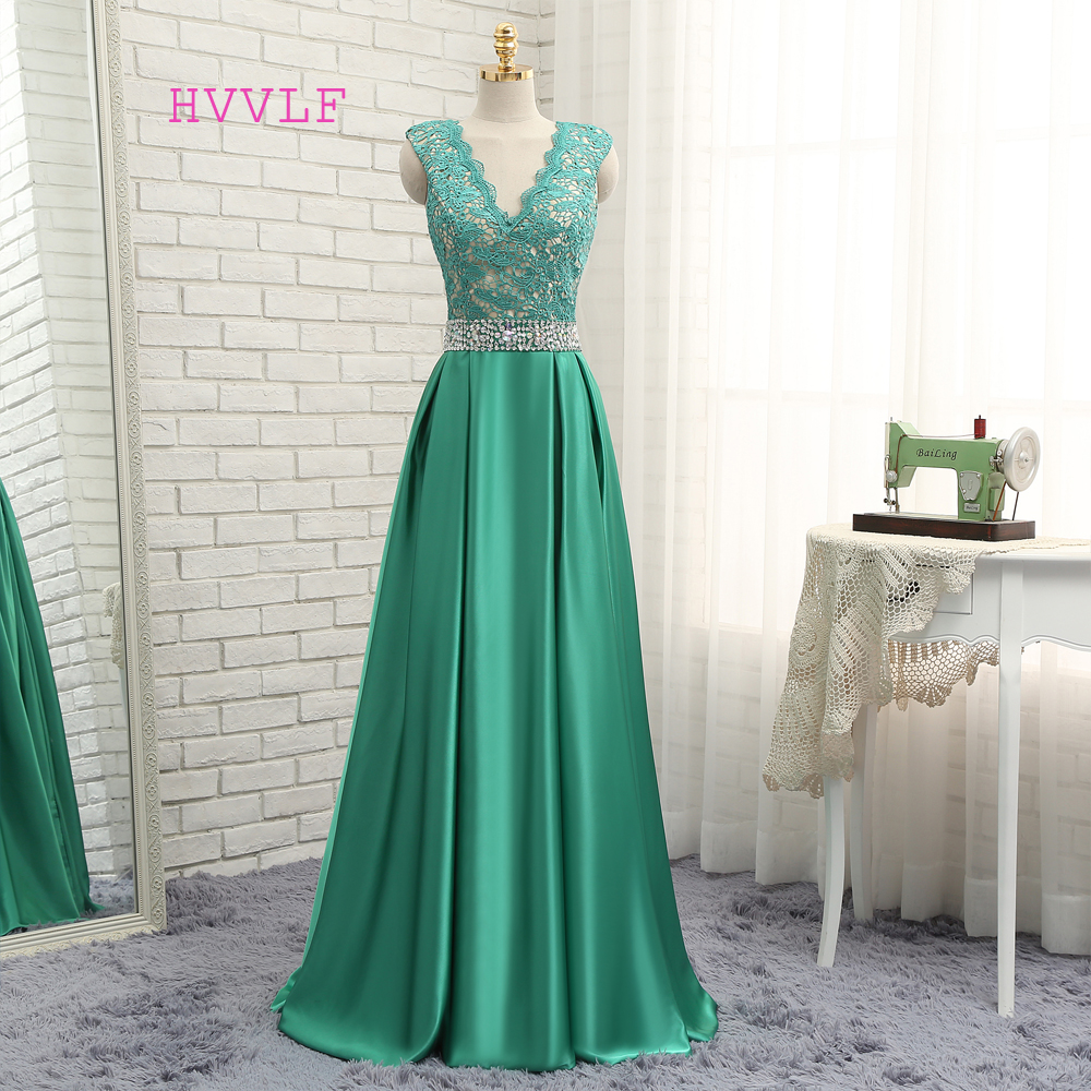 Green Evening Dresses 2018 A-line V-neck Cap Sleeves Beaded Lace ...