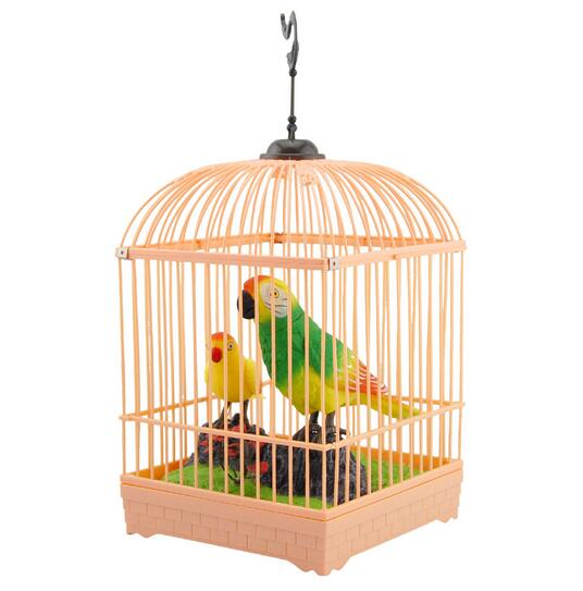 Image result for toy parrot in a cage