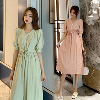 2019 Summer Fashion Short Sleeve Korean Midi Dresses Light Pink Runway Dress High Waist Retro Fitted Dress V neck Maxi Clothes