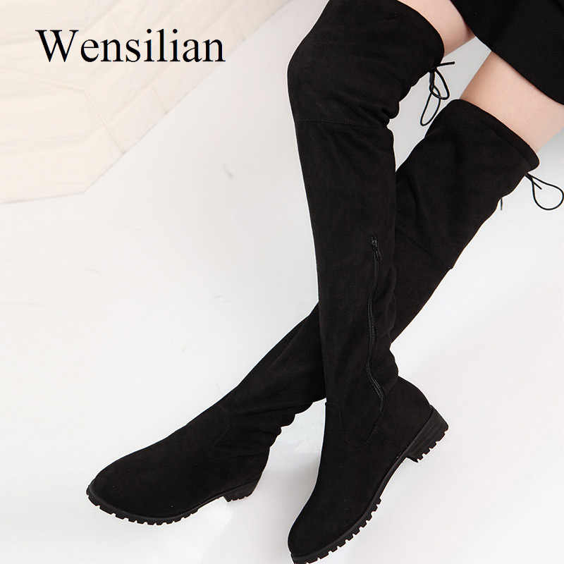 Sexy Over The Knee Boots Thigh High Boots Winter Shoes Women Suede Warm Fur Inside Bottine Femme Black Botines Mujer 2019