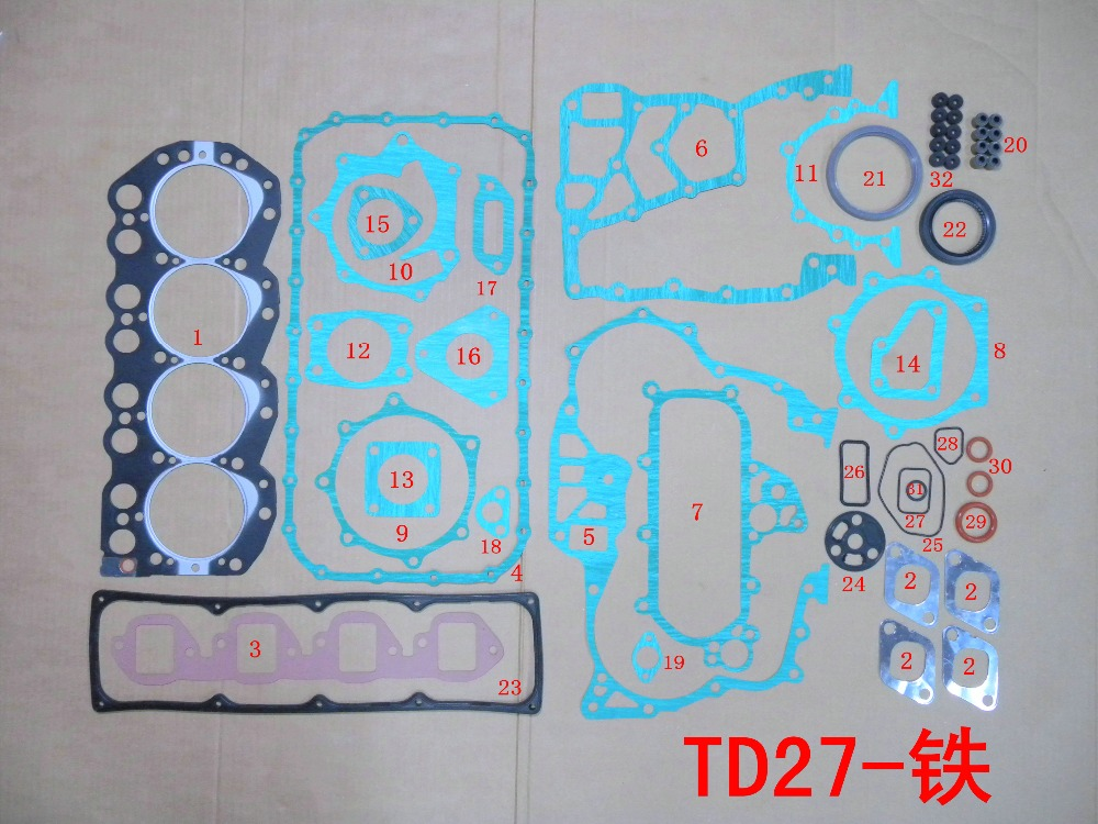 Prix pour TD27 Plein joint set kit pour FORD MAVERICK 2.7TD 2663CC 2664CC 2.7TD POUR Nissan pathfinder terrano II/van 2.7TD/D/TDI 51008000