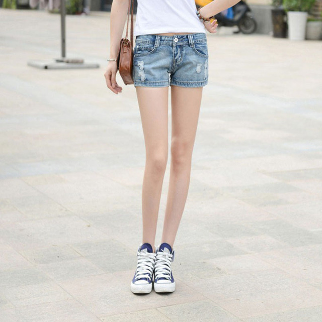 Korean style pure cotton denim cowboy shorts women high quality fashion vintage sexy low waist ripped short jeans with hole G59