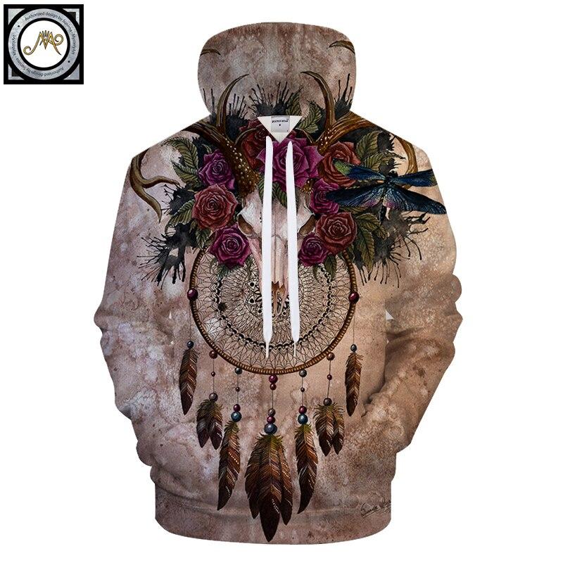 Skull dreamcatcher By Sunima Art 3D Print Hoodies Men Hoody Casual Sweatshirt Vintage Tracksuits Pullover Hoodie Animal Coat