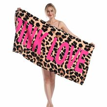 LDAJMW Fashion Sunbathing Leopard Beach Towel Pink Lady Love 100% Cotton Bathing Swimming Package Fast Dry Bath Towel(China)