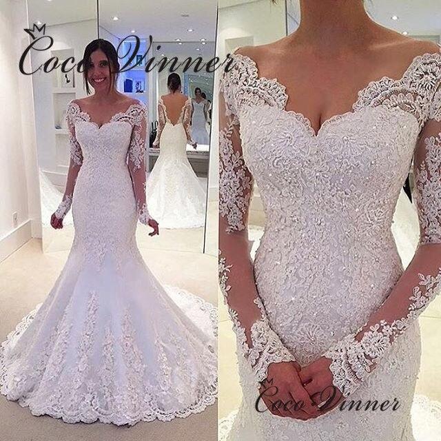 Crystal Beading Long Sleeve Mermaid Wedding Dresses Vestido De Noiva Illusion Back Lace Wedding Dress 2019 Robe De Mariee W0201