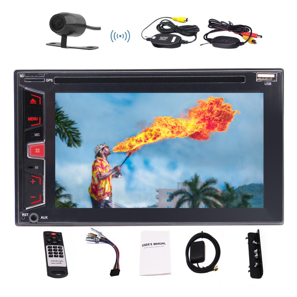 Double DIN In Dash Bluetooth AM FM RDS Car Stereo Radio Receiver GPS Navigation Audio 1080P