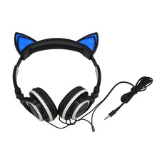 Foldable Flashing Cat ear headphones Gaming Headset Earphone LED light Ear Wired Cute Headphone for iPhone smart phone pc laptop