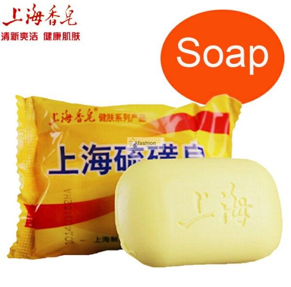 2pcs Shanghai Sulfur Soap For Skin Oil Control Acne Antipruritic Wash Mites Sabonete Care Bar Base