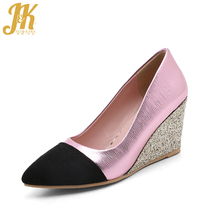 J&K 2017 Big Size 33-43 Brand Women's Shoes Casual Wedges Heel Pumps Spring Shallow Pointed toe Shoes Woman Color Patch Pumps