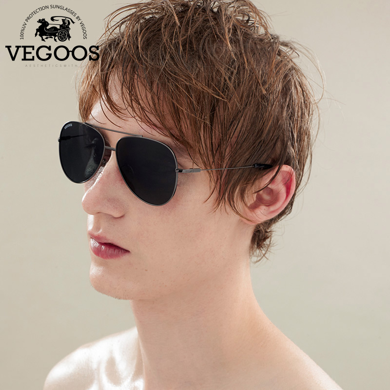 VEGOOS Polarized Aviation Sunglasses Men Stainless Steel Polarized font b Pilot b font Driving Sun Glasses