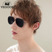 VEGOOS Polarized Aviation Sunglasses Men Stainless Steel Polarized Pilot Driving Sun Glasses Eyewear Metal Eyeglasses #3130