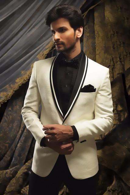 edd0fb3d2f 2017 latest coat pant designs Ivory Linen Man Suit For Beach Wedding Black  Satin Shawl Lapel Groom Tuxedo 2 Piece Mens Suits