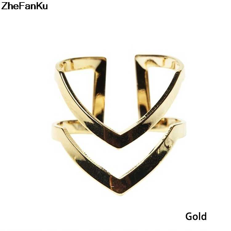 2019 новые модные золотые посеребренный двойной v-образные полуоткрытый регулируемые винтажные женские кольца с украшениями Прямая доставка