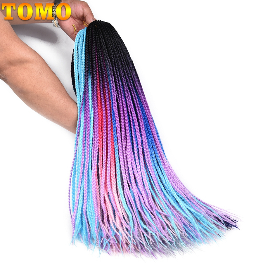 TOMO 24Inch Crochet Hair Box Braids 30Roots Synthetic Colored Braiding Hair Extensions Ombre Kanekalon Crochet Braids ...