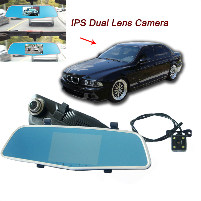 BigBigRoad For BMW e39 e46 e90 e60 e360 f30 f10 X5 Car DVR Rearview mirror video recorder Dual lens 5 inch IPS Screen dash cam цена