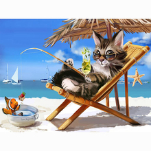 Beach cat diamond Embroidery diy painting mosaic diamant 3d cross stitch pictures H652