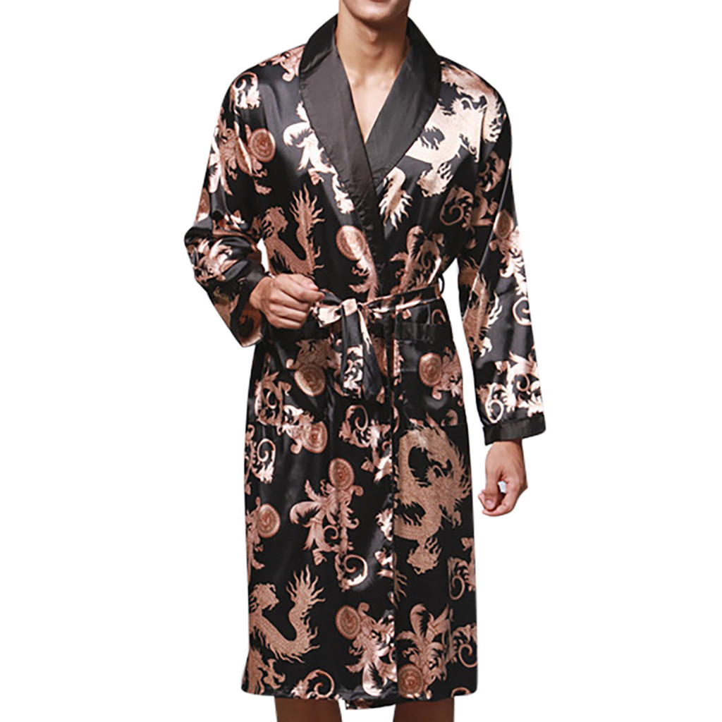 Mens Robe Kimono Dressing-Gown Silk Night Pajamas Print -2 Long-Sleeves