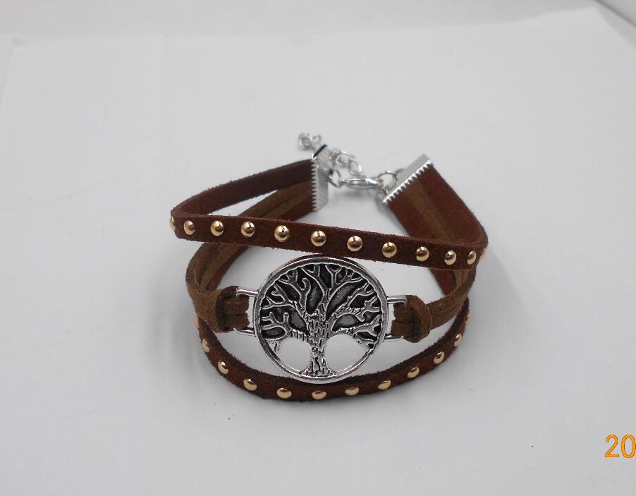 Tree of Life US triangle Leather charm Bracelets Bangle Black Rope chain anchor bike   cross Love Heart Jewelry For men Women
