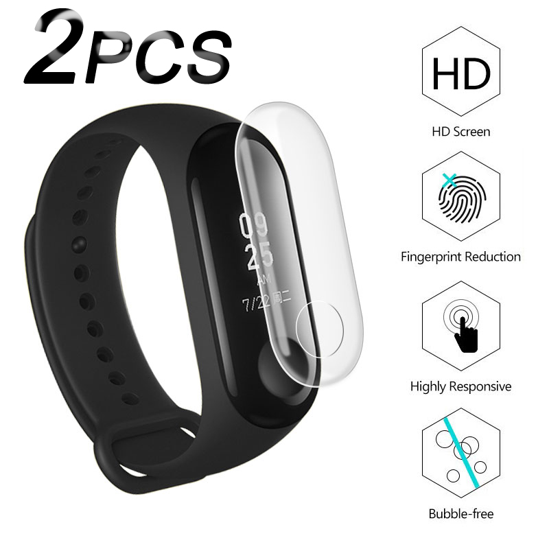 2PCS Film For Xiaomi Mi Band 3 Strap Screen Protector Glass Cover HD Ultra Thin TPU For Xiaomi Mi Band 3 Bracelet Smart Wristban