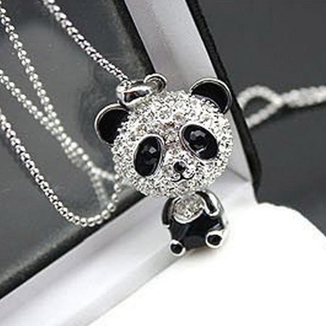 Hot sale women silver panda aolly long pattern diamante pendant hot sale women silver panda aolly long pattern diamante pendant necklace sweater chain gift fashion jewelry aloadofball Images