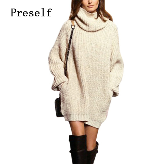 Preself Sweater Women Jumper Turtleneck Long Sleeve Thickening Warm Pullover Tops Knit Mini Dress Winter Dresses Vestidos Gray