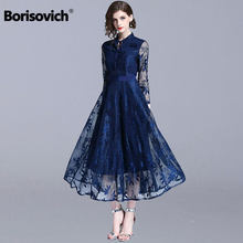 Borisovich luxe dentelle soirée robe nouvelle marque 2018 automne mode angleterre Style grand Swing a-ligne femmes longues robes N085(China)