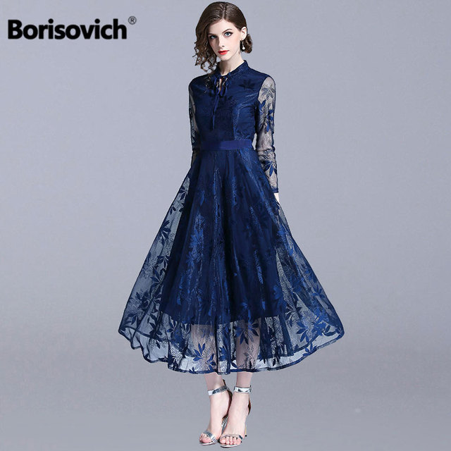 13be709ded2a Borisovich Luxury Lace Evening Party Dress New Brand 2018 Autumn Fashion  England Style Big Swing A-line Women Long Dresses N085