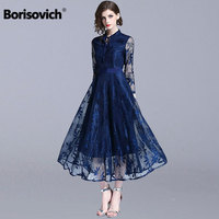 Borisovich Luxury Lace Evening Party Dress New Brand 2018 Autumn Fashion England Style Big Swing A line Women Long Dresses N085