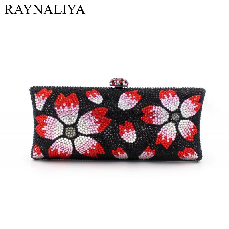 Cute Women Handbag Black Flower Pattern Clutch Bags Ladies Hand Bag Handmade Wedding Day Clutch Evening Beaded Bags SMYZH-E0334