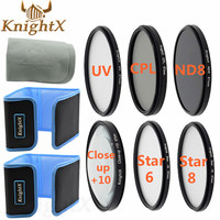 KnightX 52 58 67mm UV CPL nd Close Up lente Macro Accesorios de filtro para Sony Nikon Canon EOS DSLR d5200 d5100 d3300 d3100 lente