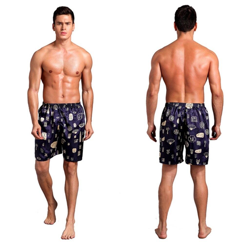 Casual Loose Men's Satin Silk Pijama Shorts Summer Sleepwear quick dry Soft Boxer Underwear Pajama print Nightwear Underpants