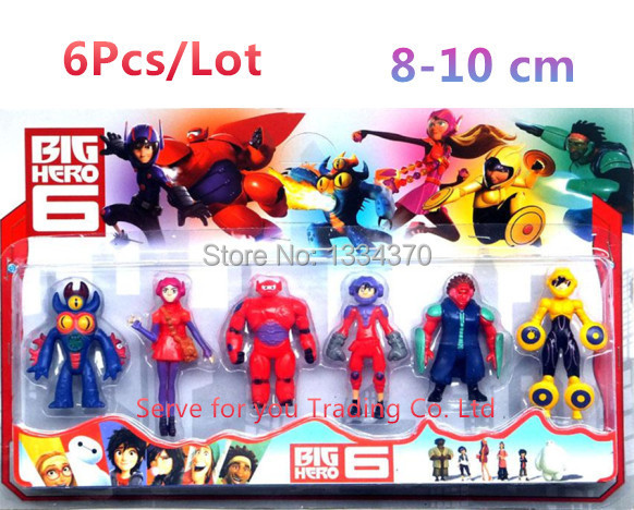 6PCS Lot The BiG Hero 6 Hiro Hamada Baymax Bayma Fred Fredzilla