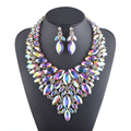 Aurora color Statement necklace sets For bridal wedding jewelry accessories Rhinestone Crystal AB color Women's party necklace