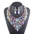 Aurora de color Declaración collar conjuntos De joyería nupcial de la boda accesorios Rhinestone Crystal AB color de partido de Las Mujeres del collar