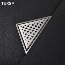 цены Free shipping Stainless Steel Bathroom Floor Drain Shower Floor Drain Triangle Shape Grate Waste Drain