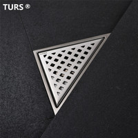 Free shipping Stainless Steel Bathroom Floor Drain Shower Floor Drain Triangle Shape Grate Waste Drain