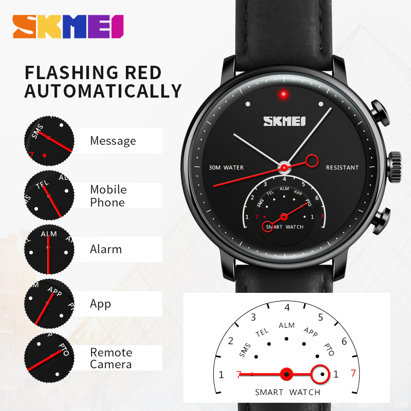 SKMEI Fashion Quartz Smart Wristwatches Smartwatch Men Luxury Brand Women Auto-Time Call Message Reminder Pedometer Sports Watch hot sale skmei brand men women fashion waterproof sports watches led display message call reminder fitness digital smart watch