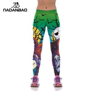 Image 3 - NADANBAO Halloween Jack Skellington Leggings Women The Nightmare Before Christmas Plus Size Pants Digital Print Fitness Leggins
