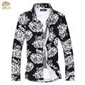 Super gran tamaño 6xl 5xl flor chemise homme brand clothing Slim Fit Camisa de Los Hombres 8 Colores de Manga Larga Camisa Masculina 2017 NUEVA