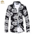 Tamanho super grande flor chemise homme marca 6xl 5xl clothing Slim Fit Homens Camisa 8 Cor de Manga Comprida Camisa Masculina 2017 NOVA
