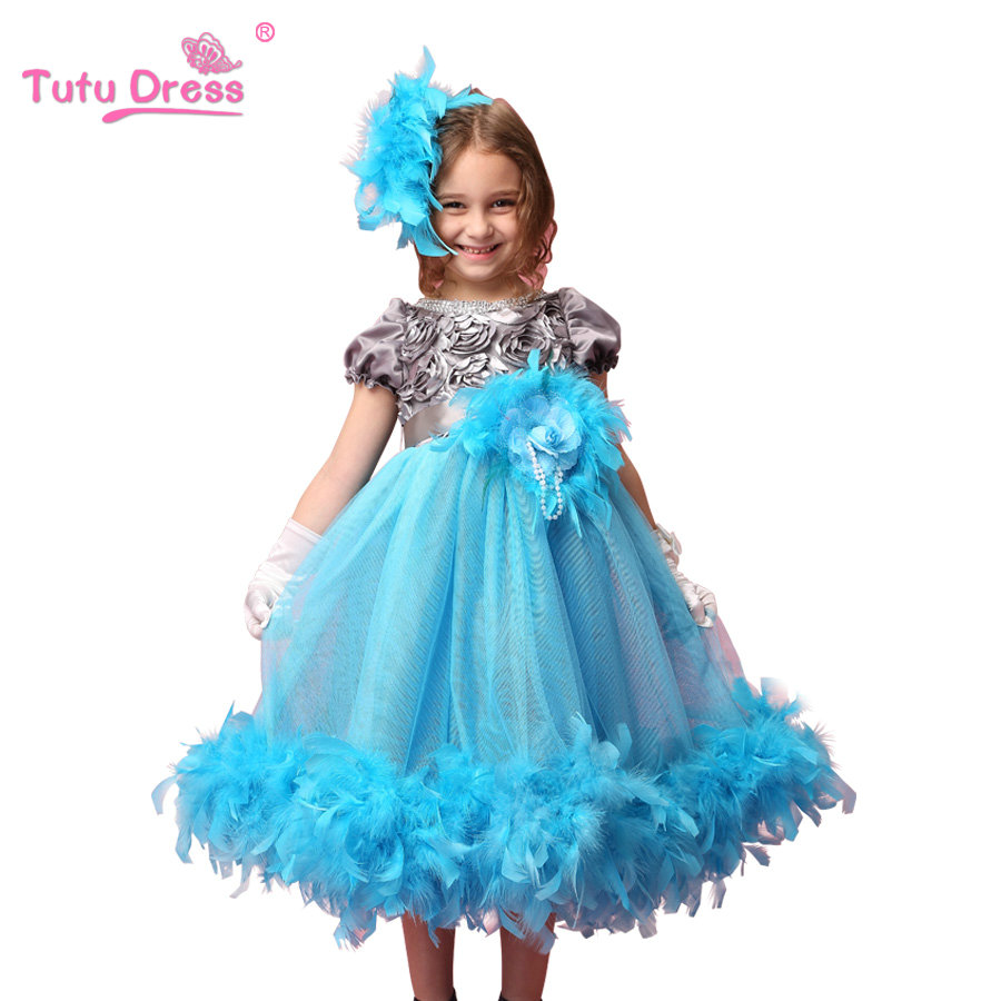 Girls Feather Sleeveless Dresses 2017 New Arrive Children Princess Wedding Party Dresses Kids Clothing For 2-7 Years Old